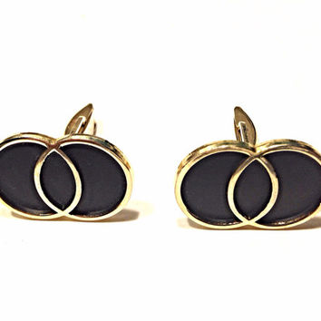 Vintage Double Infinity Ring Cufflinks Gold Tone Frame with Matte Black Interlocking Circles Mid Century Mod