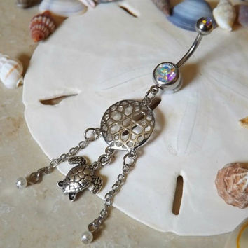 Turtle Belly Ring  Dream Catcher with Chain and Pearl Body Jewelry