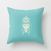 Ghost Beetle Throw Pillow by Catherine Holcombe