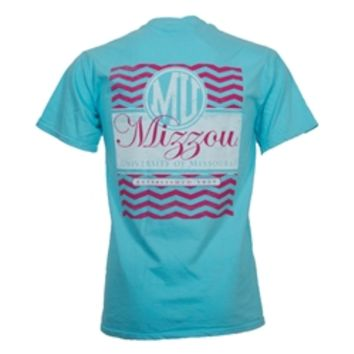 The Mizzou Store - Mizzou Comfort Colors Chest Pocket Chevron Turquoise Short Sleeve Crew Neck T-Shirt