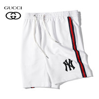 NY x GUCCI Summer Fashion Casual Embroidery Running Sport Shorts White