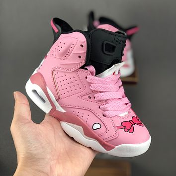 Air Jordan 6 Retro Hello Kitty Pink Toddler Kid Shoes Child Sneaker - Best Deal Online
