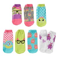 Pink Cookie 7-pk. Sparkle Monster No-Show Socks - Girls, Size: