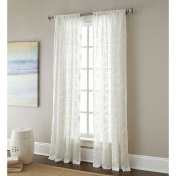Sherry Kline Leaves 63 inch Rod Pocket Embroidered Sheer Window Curtain Panel
