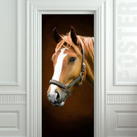 Door STICKER horse mare mustang hoof ride mural decole film self-adhesive poster 30x79inch(77x200 cm)