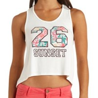 26 Sunset Embellished High-Low Graphic Tank Top - White