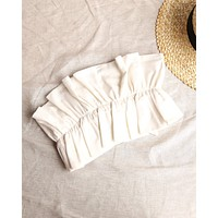 double take ruffled crop top in ivory