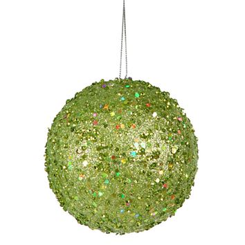 """Fancy Green Apple Holographic Glitter Drenched Christmas Ball Ornament 4"""""""