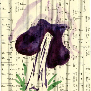 Whimsical Watercolor Mushroom Painting on Vintage Sheet Music, Loose Gestural Nature Painting On Old Fashioned Paper, Painted Ink Mushroom