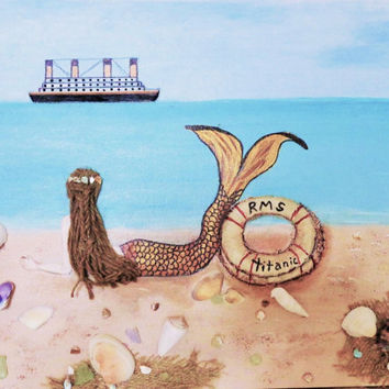 Mermaid Wall Hanging- Titanic Collage Art- Original Painting on Canvas 16X20 inches