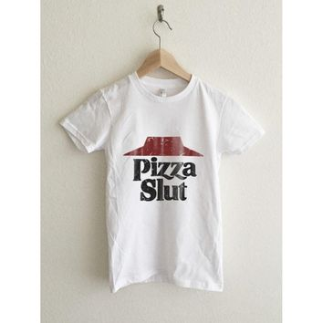 Pizza Vintage Typography Print Women's Graphic T Shirt