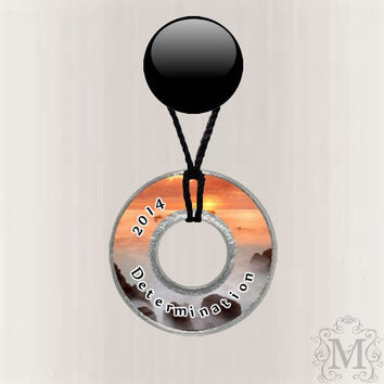 New Year's Resolution Reminder 2014 Customized Resin Coated Washer Necklace