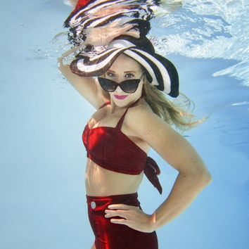 Wren High Waist Bikini in Crimson