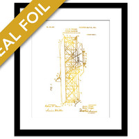 Wright Brothers Patent Illustration - Gold Foil Print - Airplane Poster - Gift for Pilot - Airplane Art Print - Vintage Airplane Art - Retro