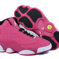 Hot Nike Air Jordans 13 GS Women Shoes Pink Black White