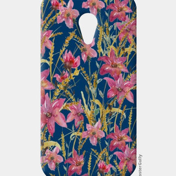 Painted Wildflowers On Blue Background Floral Moto G2 Cases | Artist : Seema Hooda