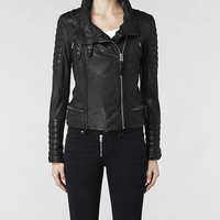 Womens Steine Leather Biker Jacket (Black) | ALLSAINTS.com