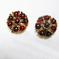 Garnet Earrings,Vintage Bohemian Rose Cut