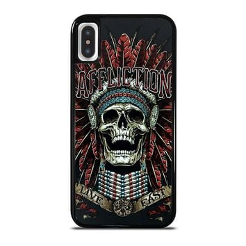 AFFLICTION SKULL INDIAN iPhone X Case Cover