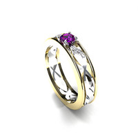 Amethys and Diamond filigree engagement ring, white gold, yellow gold, unique diamond ring, two tone, filigree wedding, amethyst solitaire