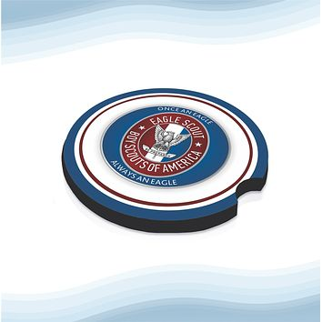 Eagle Scout US Car Cup Holder Coasters Rubber Black-Backed (Set of 2)