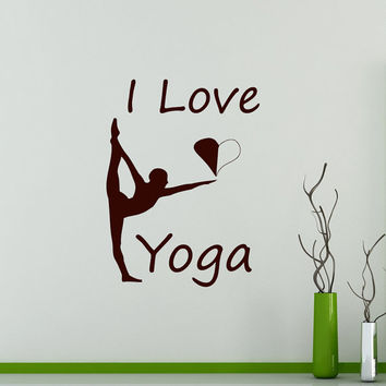 Wall Decals  I Love Yoga Quote Gymnast  Vinyl Sticker Decal Gym Decor Home Interior Design Art Murals MN 302