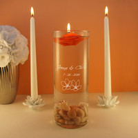 Design's Spiritual Union Couple's Monogram Wedding Unity Candle Ceremony Candle Holder with Inspired Design Options (Candle Not Included)