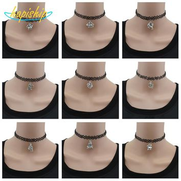 Vintage Silver Stretch Tattoo Choker Necklace Gothic Punk Grunge Henna Elastic With 12 Zodiac Signs Pendant Necklace DY30