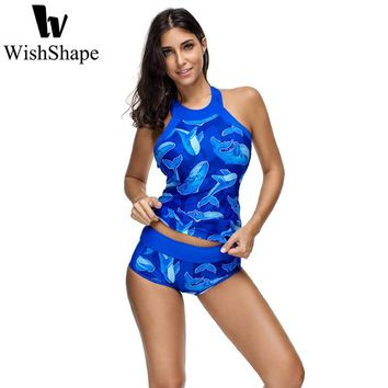 Swimsuit Tankini Swimwear Women Animal Print O Neck Tops With Shorts Two Piece Monokini Swimsuit Push Up Bathing Suit 2018