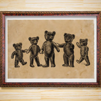 Teddy Bears print Animal poster Antique decoration