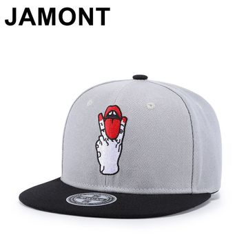 Trendy Winter Jacket Personality Tongue Out Embroidery Snapback Cap Rock Punk Stylish Hip Hop Hats Flat Bill Adjustable Baseball Caps For Men Women AT_92_12