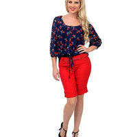Red High Waist Stretch Belted Shorts