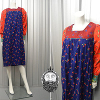 Vintage 70s Gypsy Dress Tent Dress Quilted Cotton Indian Ethnic Ditsy Floral Oversized Dress Boho Dress Bishop Sleeve Balloon Sleeve Shift