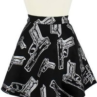 Guns Printed Circle Skirt
