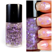 Lavender Twilight Nail Polish - Purple Stars, White Glitter & Holographic Glitter
