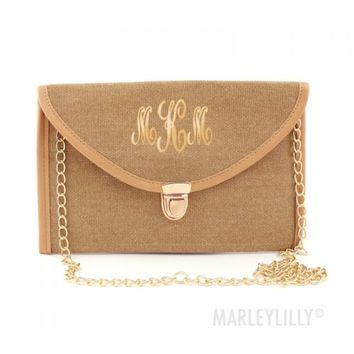 Monogrammed Burlap Luxe Cross Body Clutch | Marleylilly
