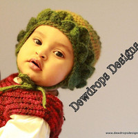 Crochet Baby Earflap Hat Green Beanie Winter Hat Children Newborn Toddler Photoprop Dewdrops Designs Trendy