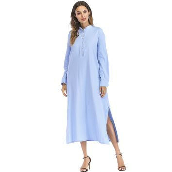Split Side Hidden Pocket Shirt Dress