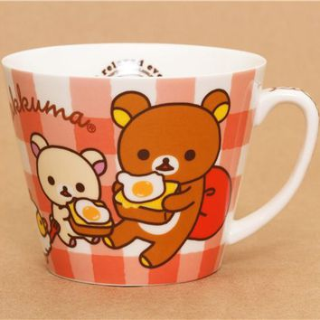 checkered Rilakkuma bear cup with friends and egg San-X - Cups-Mugs - Bento Boxes