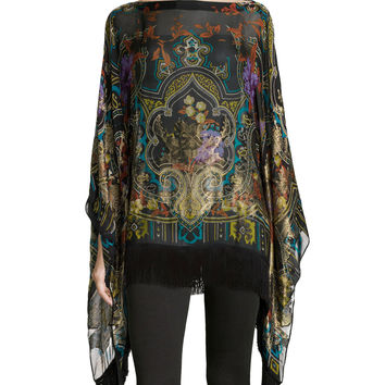 "Tapestry-Print Poncho with Fringe, Size: 33"", BLACK/GOLD - Etro"