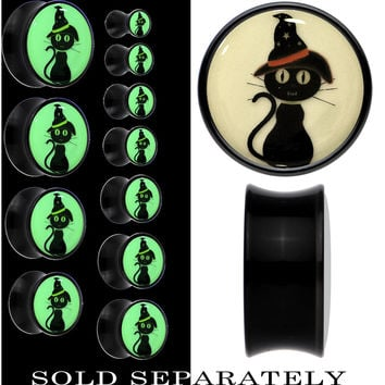 Halloween Cat Glow in the Dark Saddle Plug in Black Acrylic