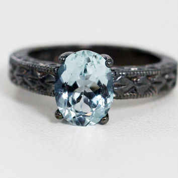Oxidized Aquamarine Oval Engraved Ring, Oxidized 925 Sterling Silver, March Birthstone Ring, Oxidized Sterling Silver Ring