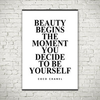 Beauty begins Coco Chanel quotes typography art poster printed on canvas or paper modern motivational wall decor ready to mount from 0.20USD