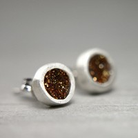 organic fine silver post earrings with taupe by tinygalaxies