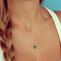 "Aventurine necklace, gold clover necklace, green aventurine necklace, Natural Stone Pendant, tiny charm pendant, asymmetric pendant, ""Endeis"