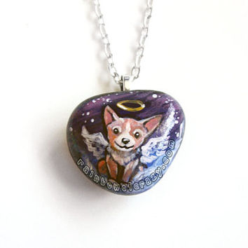 Corgi Necklace, Dog Memorial Pendant, Hand Painted Stone, Angel Jewelry, Natural Beach Rock, Pet Loss Accessory, Purple Sky Painting