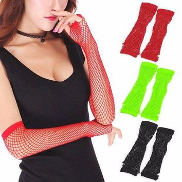 ac PEAPO2Q New Party Lace Fingerless Fishnet Gloves Mittens Sexy Women Lady Punk Dance Costume Black, Red, Fluorescent Green