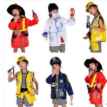 DCCKH6B 2016 Hot sale Brief 1Set Kid Child Halloween Christmas Cosplay Firefighter Fireman Costume Cosplay clothing