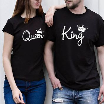 Cool OMSJ Summer T-shirt 2018 Crown King Queen Printing T Shirt Couple Matching Clothes Lovers Tee Shirt Femme Casual O-neck TopsAT_93_12