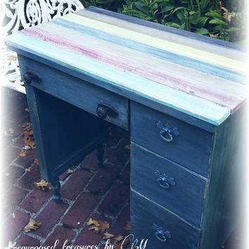 Upcycled Repurposed Desk, country cottage, rustic, cottage, kids children's desk, distressed furniture, blue green, colorful handpainted